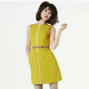 Dear Creatures Modcloth Mustard Elizabeth Dress
